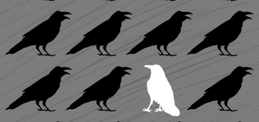 white crow among black crows on a grey background
