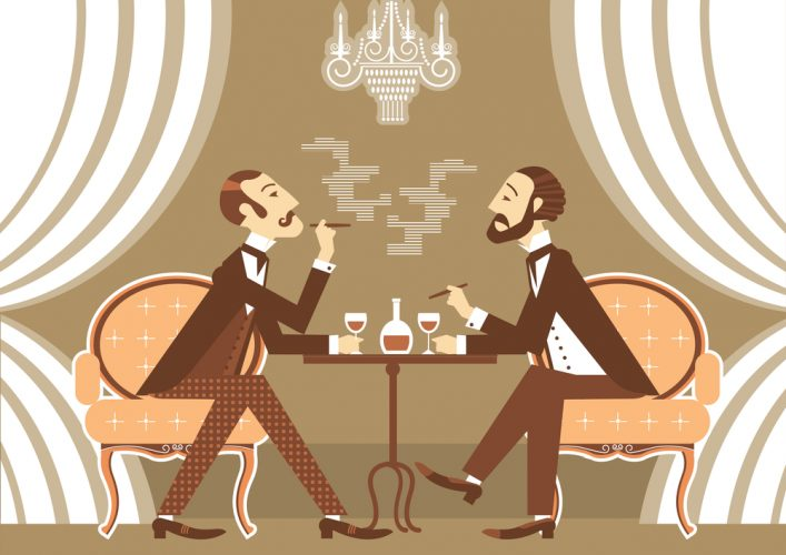 Gentlemen talking and drinking in club.Vintage illustration of retro club