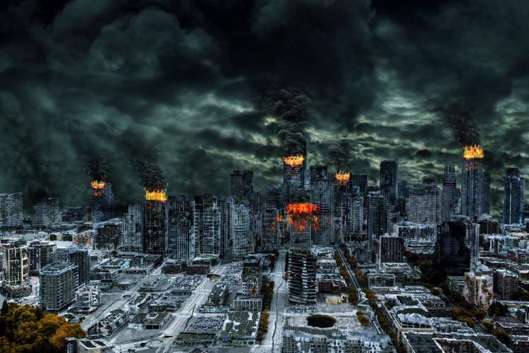 Detailed destruction of fictitious city with fires, explosion, sinkholes, split ground, train derailment. Concept of war, natural disasters, judgement day, fire, nuclear accident, terrorism, or meteorite fallout.